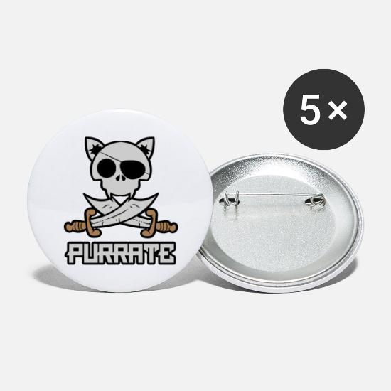 Pirate Bay Buttons - Purrate Cat Jolly Roger - Large Buttons white