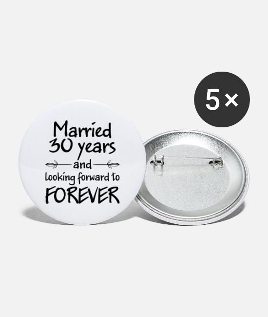 Bachelorette Party Buttons & Pins - Married 30 years wedding gift - Large Buttons white