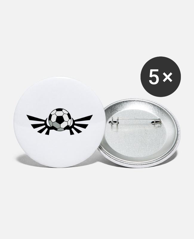 Sphere Buttons & Pins - SOCCER BALL football with AIRFORCE wings - Large Buttons white