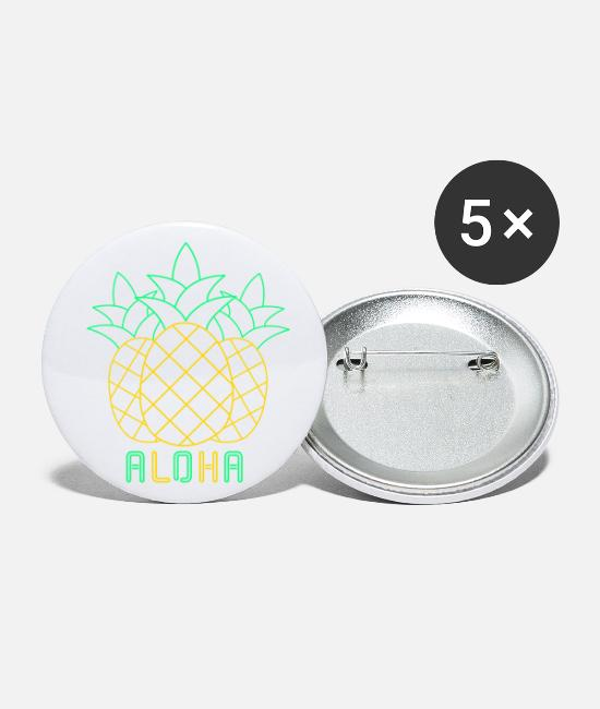 Neon Buttons & Pins - Pineapple Aloha 80s Neon Vintage Retro Summer - Large Buttons white