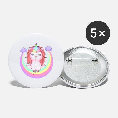 Summer Fairy Tale Fairy Tale Rainbow Unicorn & Clouds Women Girls - Large Buttons