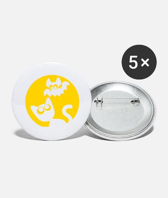 Bat Buttons & Pins - Cute Cartoon Cat And Bat by Cheerful Madness!! - Large Buttons white