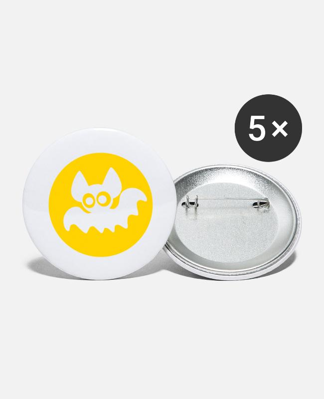 Cute Buttons & Pins - Cute Cartoon Moon Bat by Cheerful Madness!! - Large Buttons white
