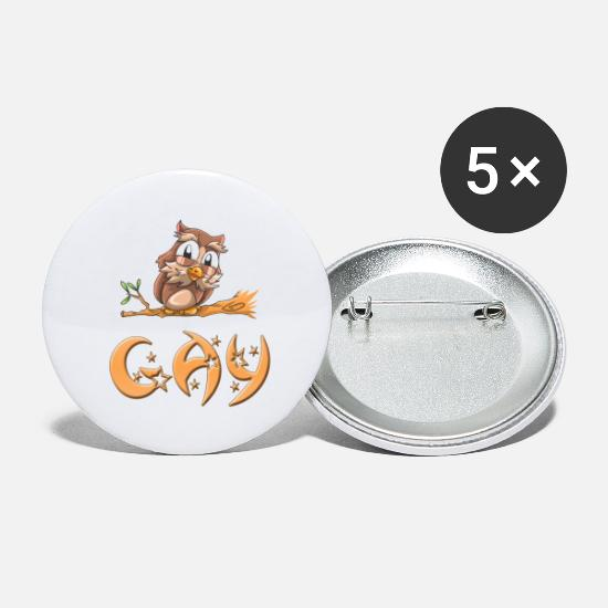 Slut Buttons - Gay Owl - Large Buttons white