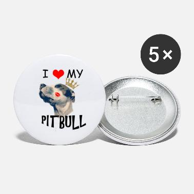I Love My Pit Bull dog shirt for adult and kids - Large Buttons