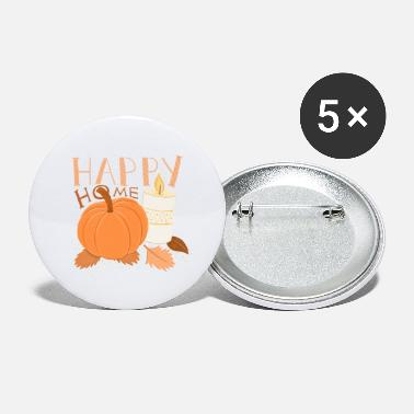 Fall HAPPY HOME Pumpkin and Candle alight HYGGE - Large Buttons