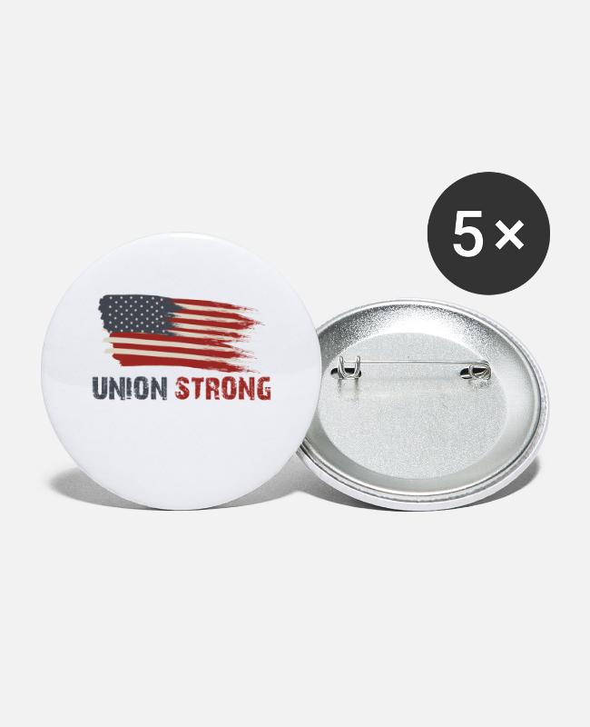 Holidays Buttons & Pins - Union Strong Vintage USA Flag Proud Labor Day - Large Buttons white