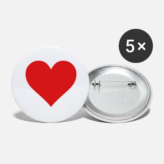Love Buttons - heart love - Large Buttons white