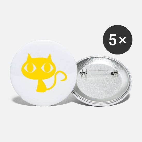 Magic Buttons - cat pet animal yellow comic kids vector - Large Buttons white