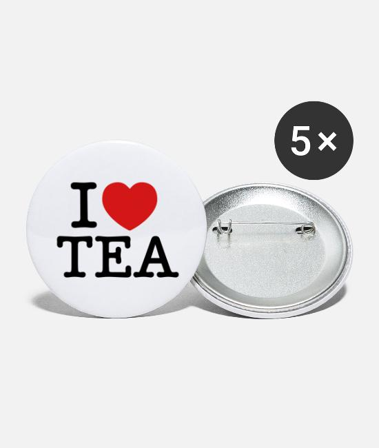 Heart Buttons & Pins - I Love Tea - Large Buttons white