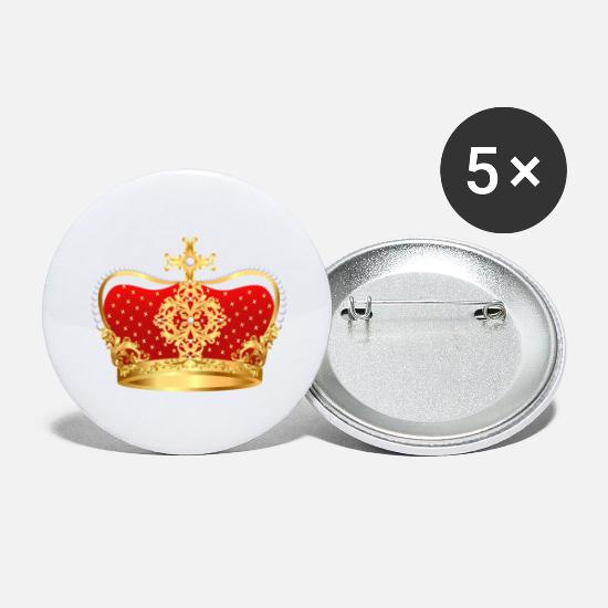 Golden Crown Buttons - Gold crown pearl VIP jewels monarch - Large Buttons white