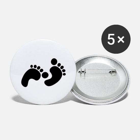 Foot Print Buttons - footprints - Large Buttons white