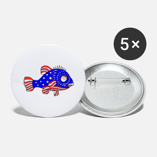 Soccer Buttons - Cool USA Colors Fish Design by Milaino - Large Buttons white