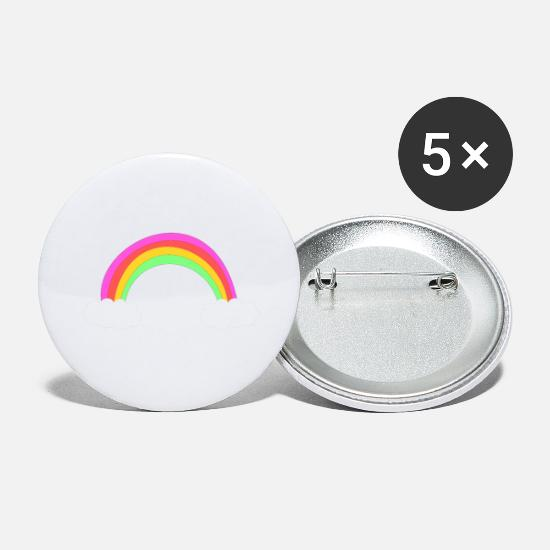 Birthday Buttons - Rainbow - Large Buttons white