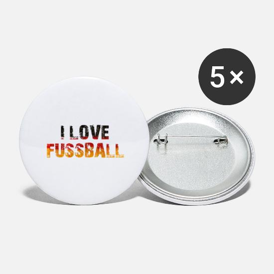 Love Buttons - I love Fussball - i love soccer - german flag - Large Buttons white
