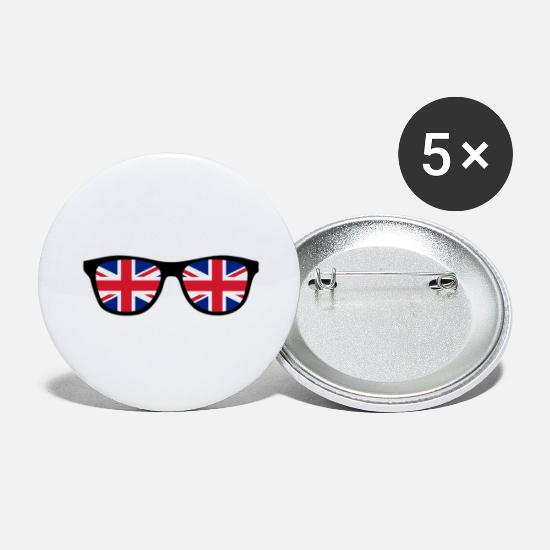 Britain Buttons - Glasses with Union Jack - BREXIT - England - Large Buttons white