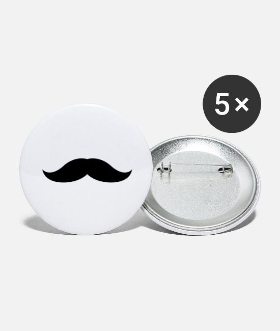 Hair Buttons & Pins - Mustache 4 - Large Buttons white