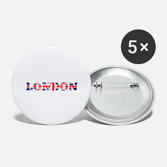Gift Idea Buttons - Nice London Type Great Britain Style - Large Buttons white