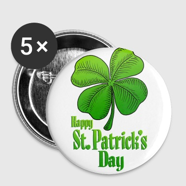 Happy St Patrick's Day Shamrock - Large Buttons