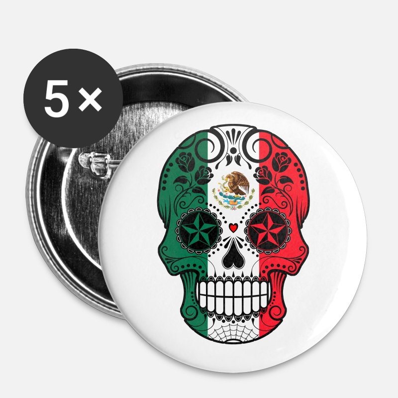 Mexican Buttons - Mexican Sugar Skull - Large Buttons white