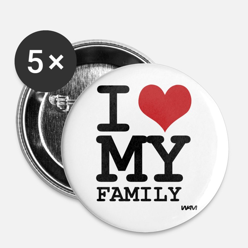 Children Buttons - i love my family by wam - Large Buttons white
