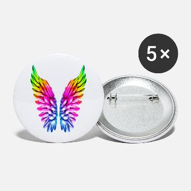Rainbow LGBT Rainbow Angel Wings Lesbian Gay Pride Parade - Large Buttons