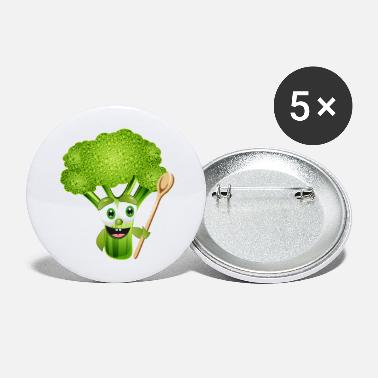 Floret funny cartoon broccoli florets with wooden spoon - Large Buttons