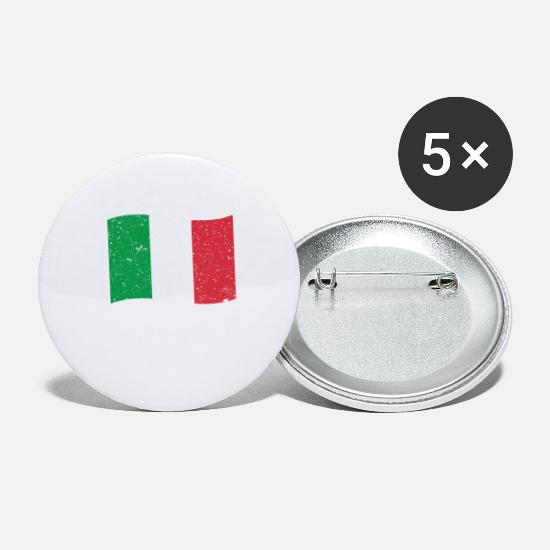 Flag Buttons - Italy Flag Italian Flag - Large Buttons white