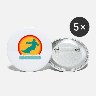 Snowboarder Snowboard Snowboarders Snowboarding Retro - Large Buttons