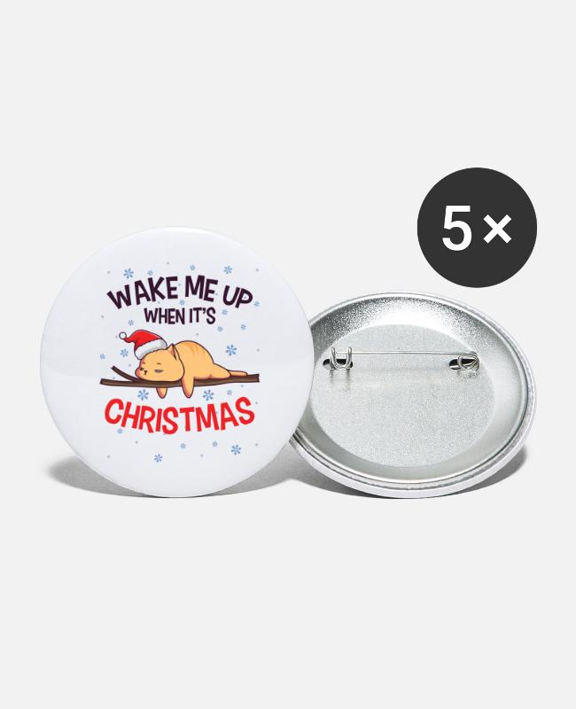 Cat Christmas Buttons & Pins - Lazy Cat Santa Domestic Animal Kitten Owner - Large Buttons white