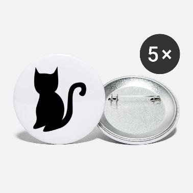 Halloween simple halloween black cat shape - Large Buttons