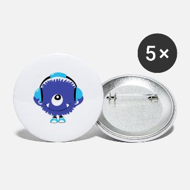 Happiness Is The Sound Cute Sound Monster with Headphones - Large Buttons