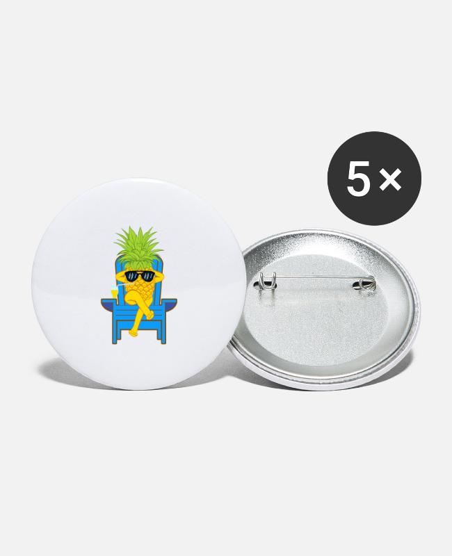 Sphere Buttons & Pins - Fruit Cool Pineapple With Sunglasses Graphic - Large Buttons white