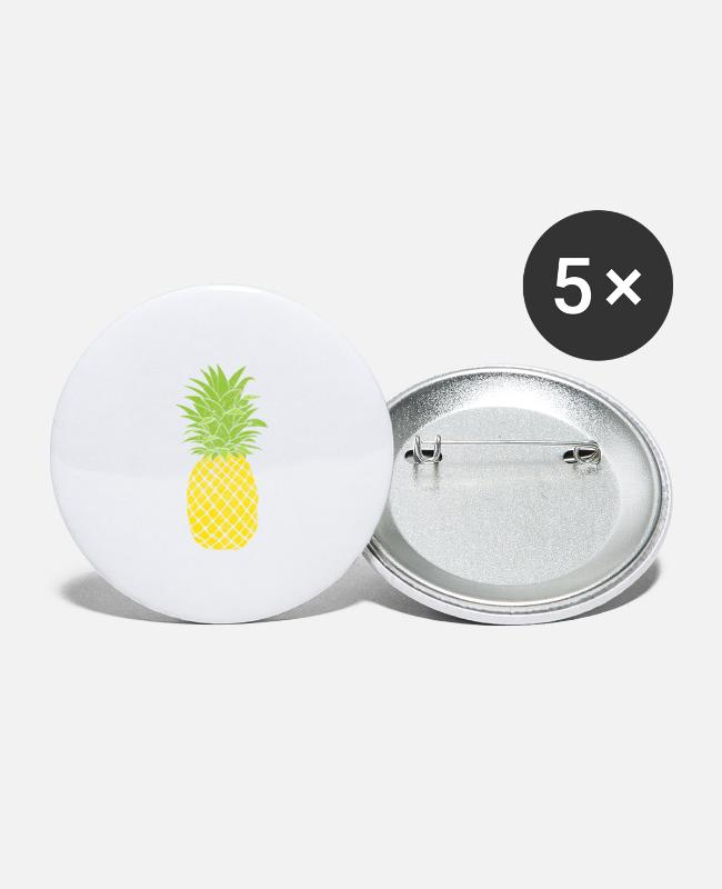 Sphere Buttons & Pins - Retro Fruit Cool Pineapple Graphic Tshirt Summer - Large Buttons white