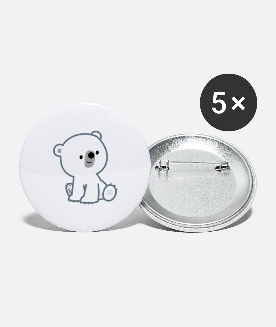 Cub Buttons & Pins - Sweet Cartoon Polar Bear Cub by Cheerful Madness!! - Large Buttons white