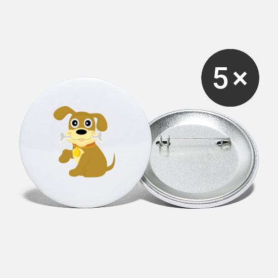 Love Buttons - Little sweet dog with bone - Large Buttons white
