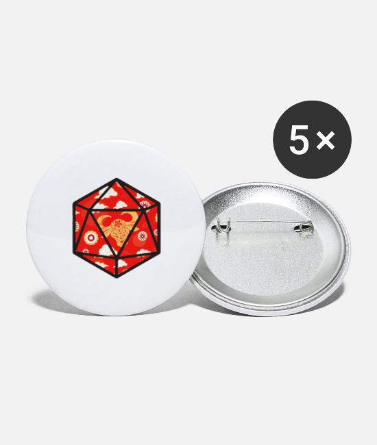 LARP Buttons & Pins - Year of the Ox D20 - Large Buttons white