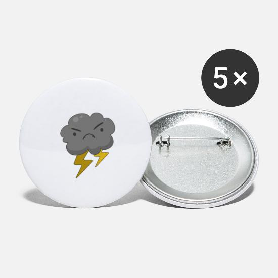 Clouds Buttons - Angry Cloud with Lightning Thunderstorm - Large Buttons white