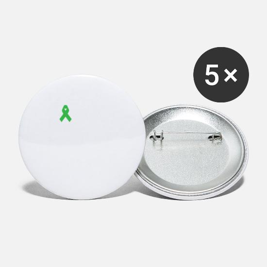 Fight The Stigma Green Ribbon Mental Health Tshirt Buttons large 2 2''  (5-pack) - white