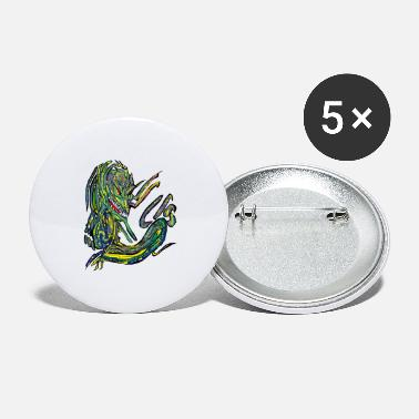 Mythological Dragon Yellow, Naga, Mythology - Large Buttons