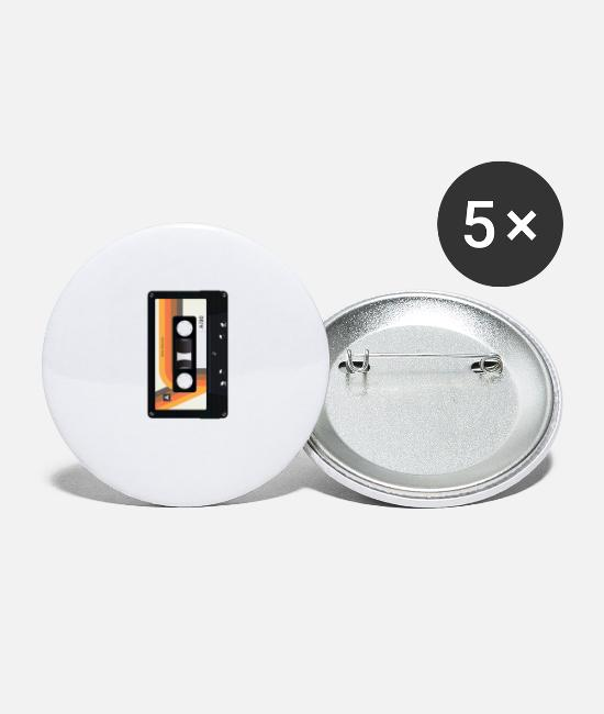 Cassette Buttons & Pins - Cassette Audio Tape Gift Music Retro 80s 90s Art - Large Buttons white
