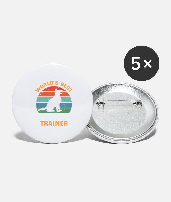 French Buttons & Pins - Dog Trainer - Large Buttons white