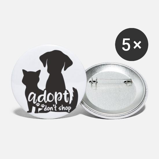 Adopt Buttons - Adopt Don't Shop - Large Buttons white
