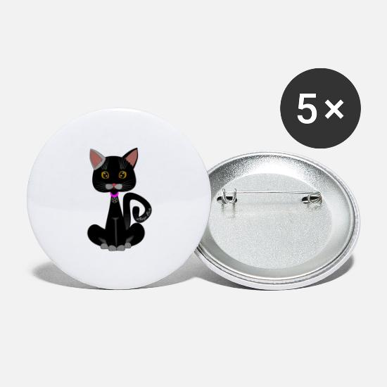 Wicca Buttons - cat wicca - Large Buttons white