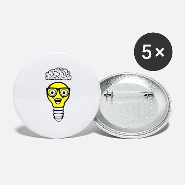 Nerd Lightbulb and Brain - Large Buttons