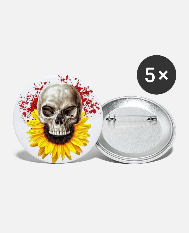 Creepy Buttons & Pins - sunflower skull - Large Buttons white