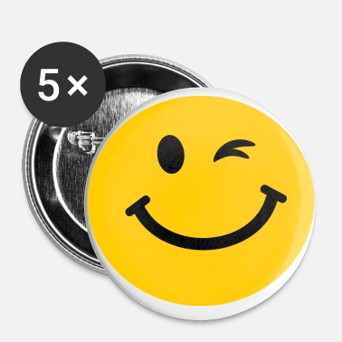 Winking Smiley face Buttons large 2 2'' (5-pack) - white