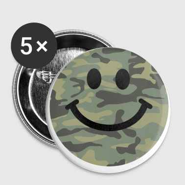 Army green camo Smiley face - Large Buttons