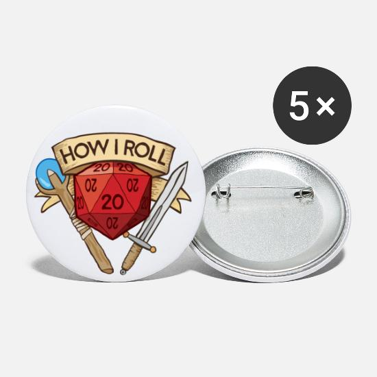 Dungeons And Dragons Buttons - How I Roll D&D DND - Large Buttons white