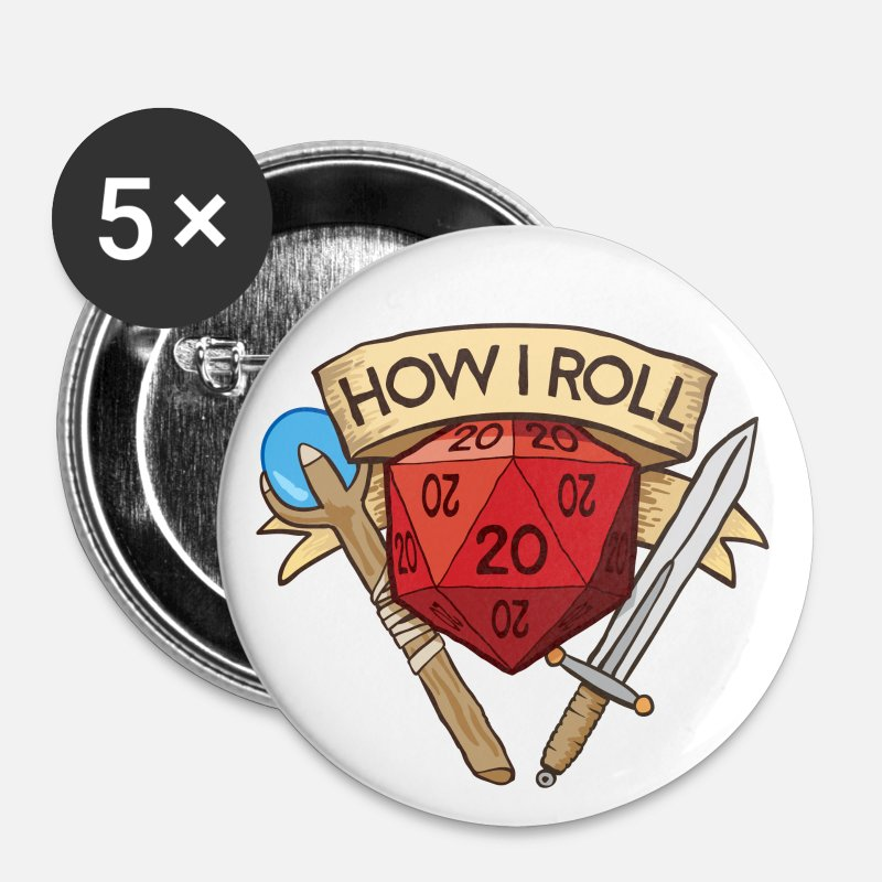 Bestsellers Q4 2018 Buttons - How I Roll D&D DND - Large Buttons white